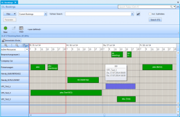 list bookings timeline planning en web